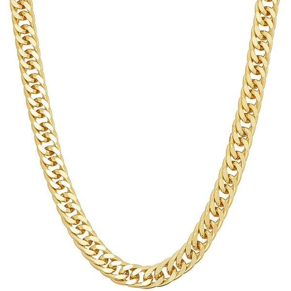 Men's 14k Gold Over Silver Curb Chain Necklace ($100) ❤ liked on Polyvore featuring men's fashion, men's jewelry, men's necklaces, yellow, mens watches jewelry, mens silver chains, mens silver necklace, 14k gold mens necklace and mens yellow gold cross necklace