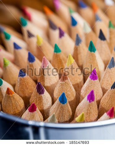 Wooden color pencils - stock photo