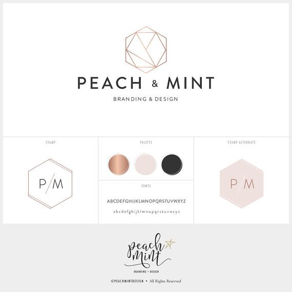 Premade Geometric Hexagonal Logo Design & by PeachMintDesign