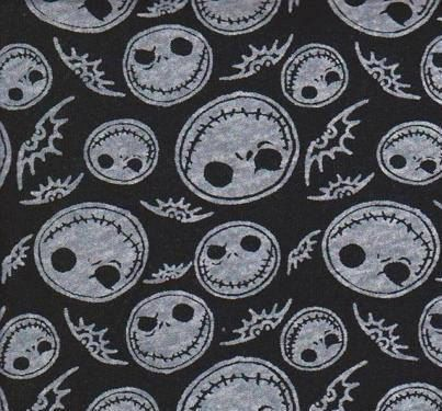 ... Skellington Fabric Cotton Interlock Knit BTY (Nightmare Before C