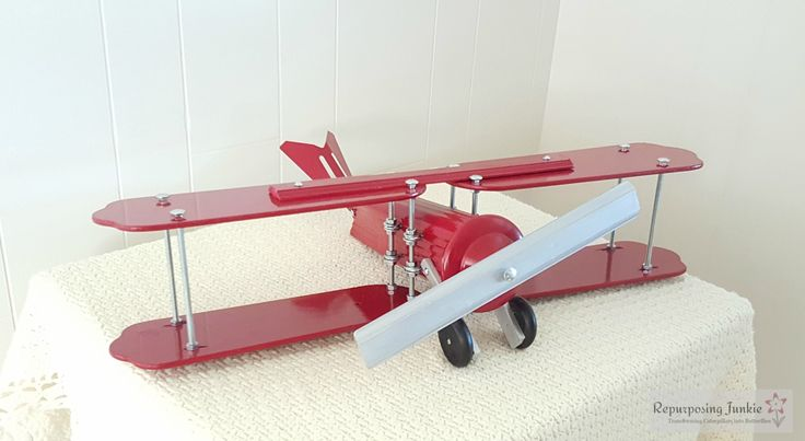 Repurposed Ceiling Fan Blades into Red Airplane