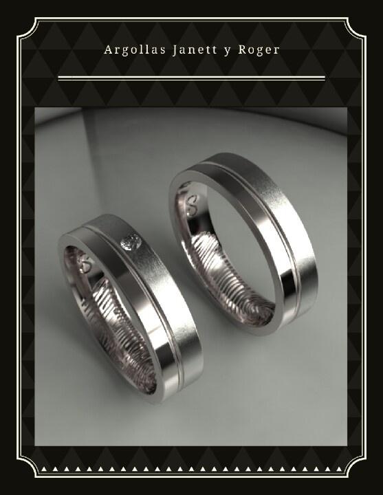 $16,000 Par de argollas peronalizadas, con huella digital... oro blanco de 14k y diamante de 2 pts.... Info y pedidos en contacto@bodasveracruz.com