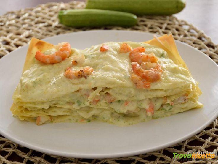 Lasagne con crema di zucchine e gamberi  #ricette #food #recipes