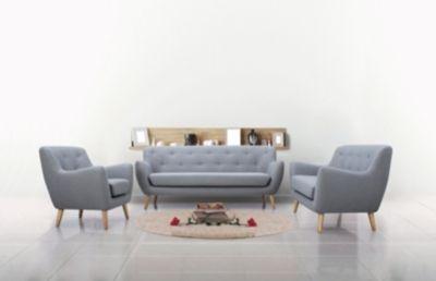 Mobilier - Salons et Séjours - Canapés - Canapé 3 places scandinave MILO Tissu gris clair