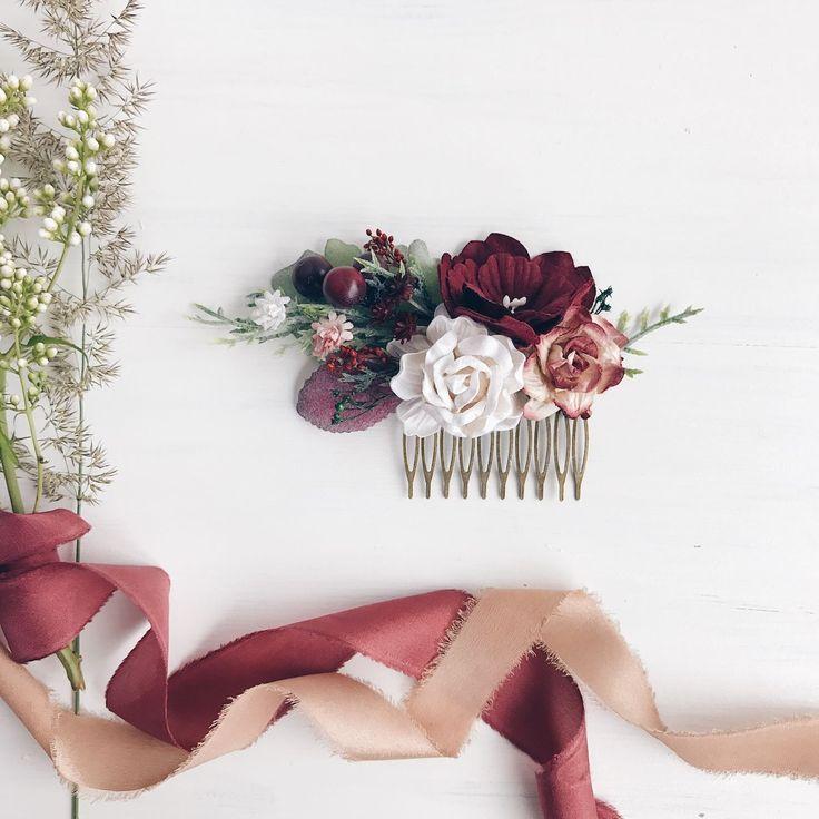 Купить Гребень для волос Marsala and white - бургунди, марсала, свадьба марсала