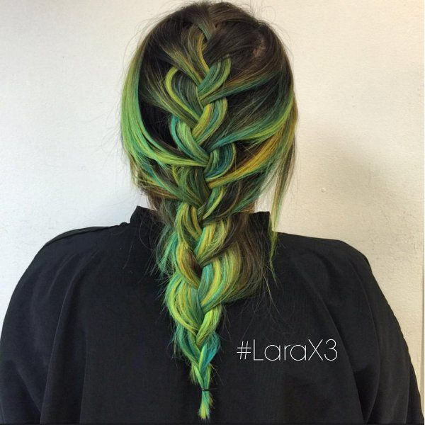 black hair with green highlights