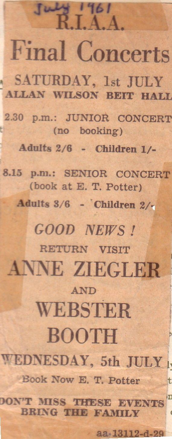 July 1961. Concert, Zimbabwe.
