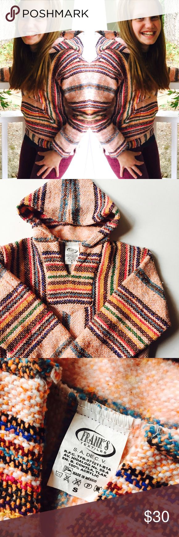Kids Baja Surfer Hoodie 6-8 Small Some call it the drug rug...others the Baja hoodie. Either way you'll keep your little surfer warm and stylish in this adorable Mexican poncho. Colorful and so cute for a hippie look! The tag says Frank's Textiles size Small. I'd say it fits a kids 6-8 best. Made in Mexico. Could be used for a Halloween costume too😀 Vintage Shirts & Tops Sweatshirts & Hoodies