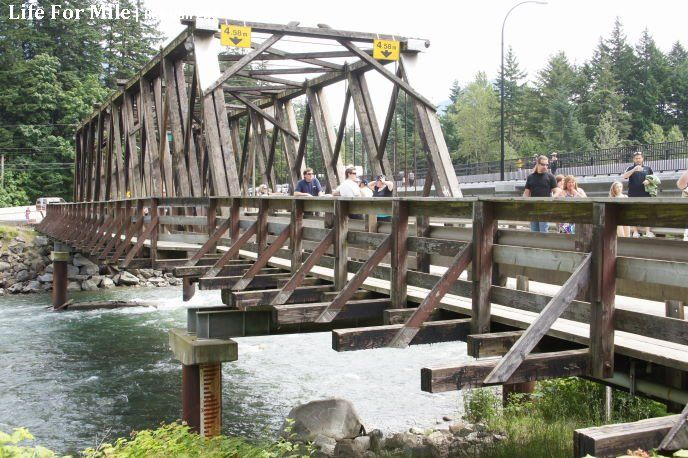 The world-famous Kawkawa Bridge, Rambo Bridge Final Take in Hope BC Bid an Emotional Farewell with Nostalgic Fans As Actor Stephen Chang Promoted New Movie 'Life For Mile'. www.hopebc.ca