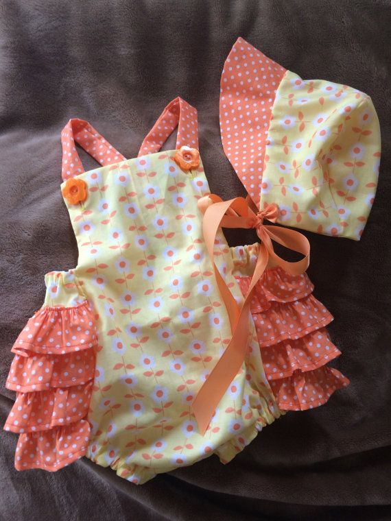Sunny Citrus Ruffles Romper and Bonnet size 12 by dragonbees
