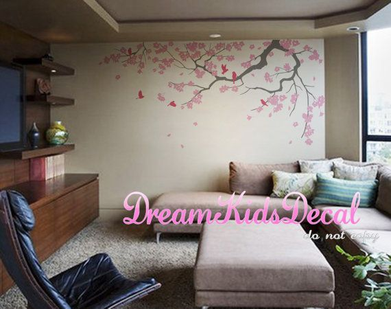 fleurs de cerisier sticker branche vinyle mural stickers. Black Bedroom Furniture Sets. Home Design Ideas