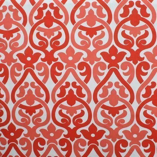 A flirty damask fabric with a fresh look in red and coral pink with white.Suitable for drapery, curtains, roman blinds, decorative pillows, seat cushions, uphol