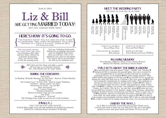 The 25+ best Funny wedding programs ideas on Pinterest | Wedding ...