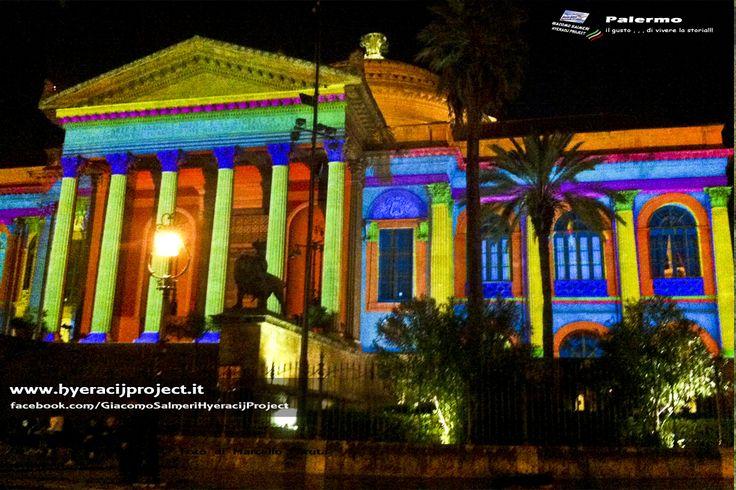 """#Palermo, Prove tecniche di videomapping. Spettacolo straordinario di luci e suoni, dedicato al """"Crepuscolo degli dei"""". www.hyeracijproject.it #ilgustodiviverelastoria © #2014HyeracijProject"""