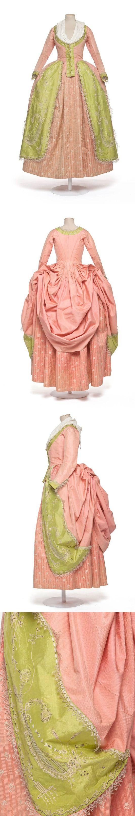 robe à la polonaise, 1780-1785, France, Taffeta, silk