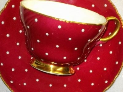 Shelley Risen Bumpy polka dots simplyTclub Tea cup and saucer HENLEY SHAPE