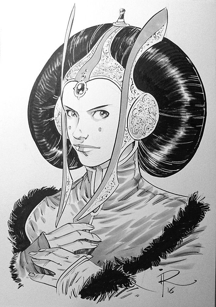 ingoroemling:  Padmé Amidala commission, A4 size, ink & grey markers.