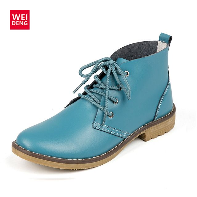 Cheapest Price $16.57, Buy WeiDeng Genuine Leather Women Boots Fashion Winter Lace Up Classic Shoe High Style Flats Brand Casual Shoes Boots 4 Color
