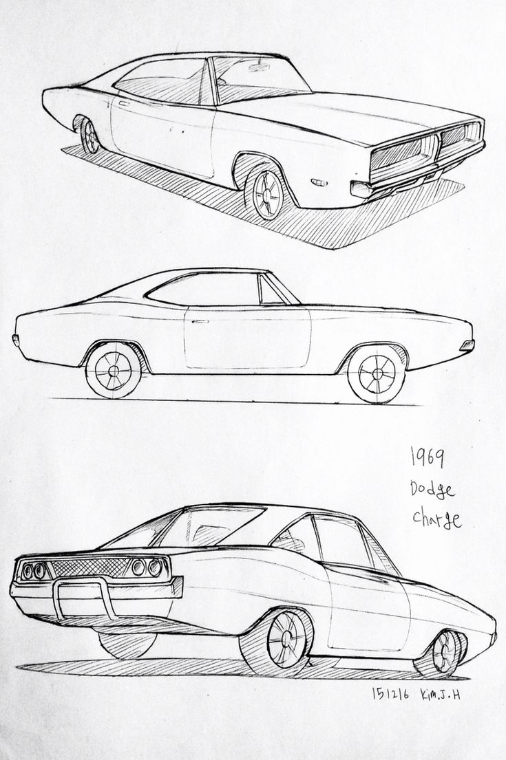Car drawing 151216 1969 Dodge Charger      Prisma on paper.  Kim.J.H