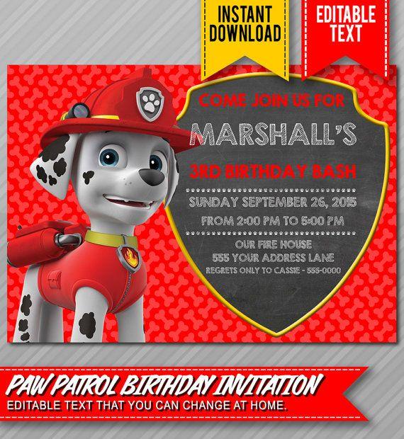 paw patrol invitation - instant download