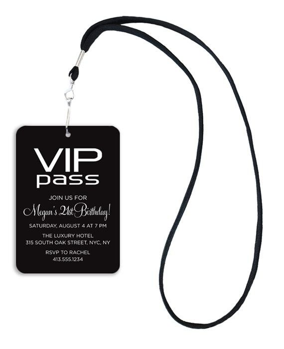Modern VIP Pass Birthday Invitations-cute idea for bachelorette party