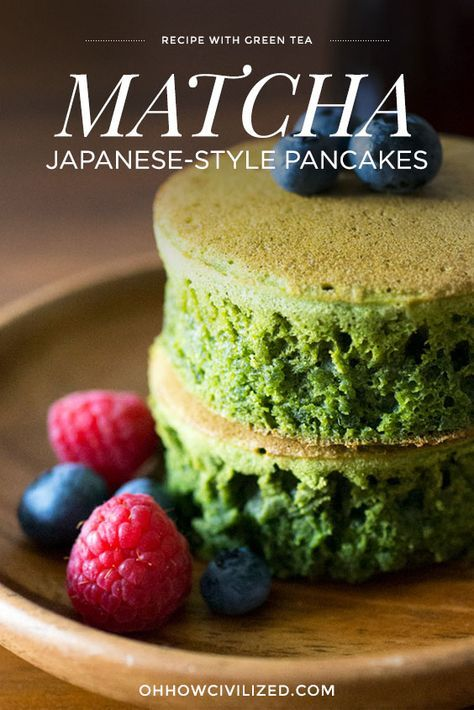 Matcha Green Tea Japanese-Style Pancakes Recipe
