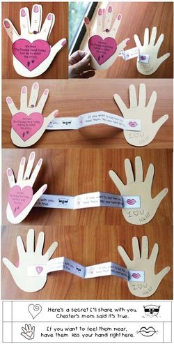 "Kissing Hand activities: Kissing Hand Keepsake Craft folds open to reveal a secret message:  ""Here's a secret I'll share with you.  Chester's mom said it's true.  If you want to feel them near, have them kiss you hand right here."""