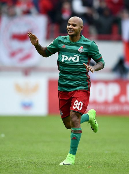 Ari of FC Lokomotiv Moscow celebrates after scoring a goal during the Russian Premier League match between FC Lokomotiv Moscow v FC Spartak Moscow at Lokomotiv Stadium on March 18, 2017 in Moscow, Russia.