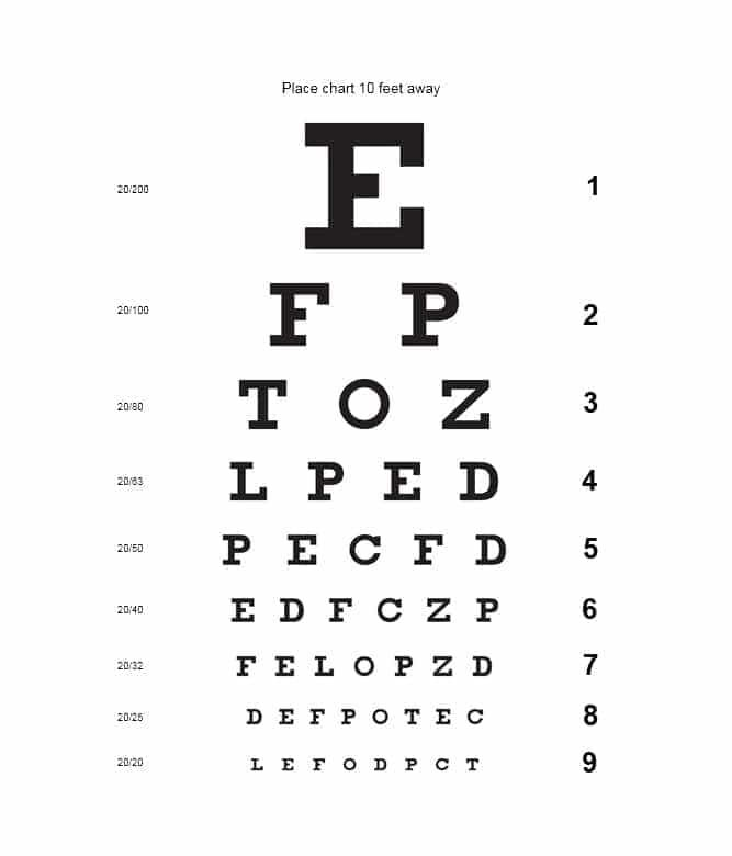 Eye Chart Template 17 Test Free Exam