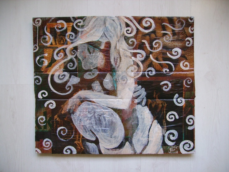 'It's In His Kiss' II_mixedmedia on cardboardbox__50x70cm