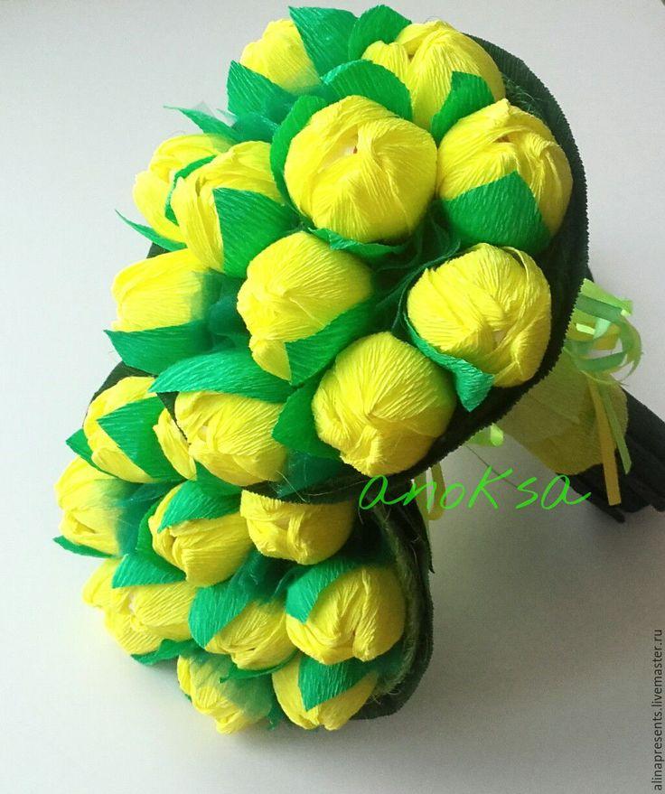 Купить Букет тюльпанов - желтый, тюльпаны, букет, букет из конфет, букет тюльпанов, желтые тюльпаны