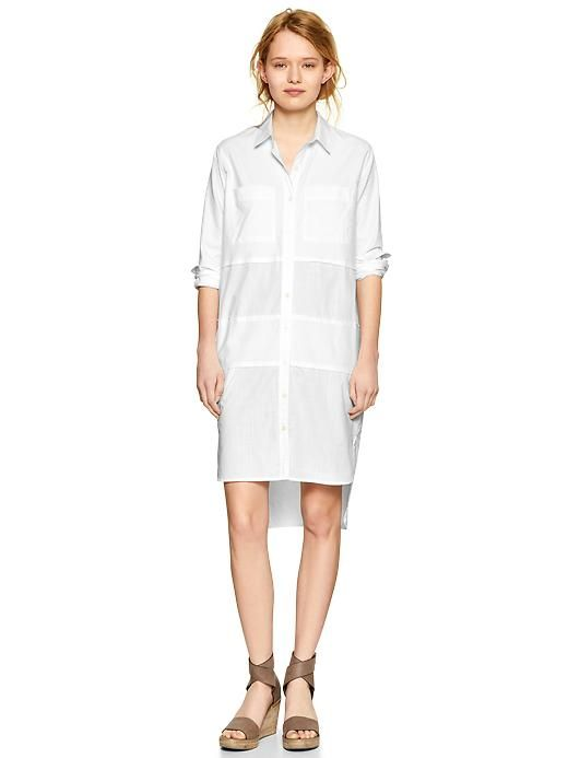 Paneled step-hem shirtdress Product Image