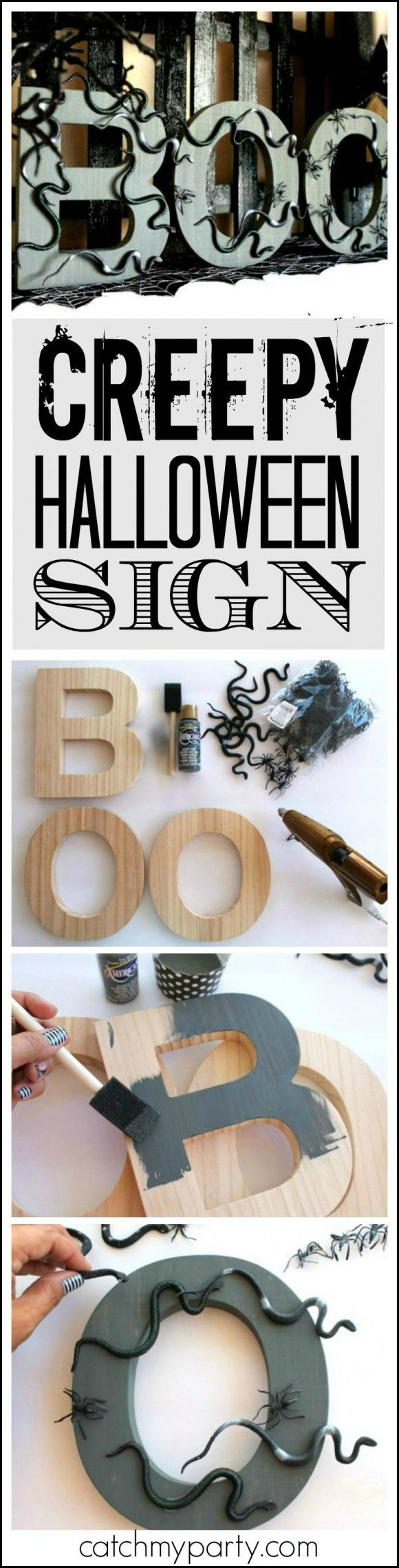 Learn how to make this creepy fun DIY Halloween BOO Sign from Laura Aguirre!