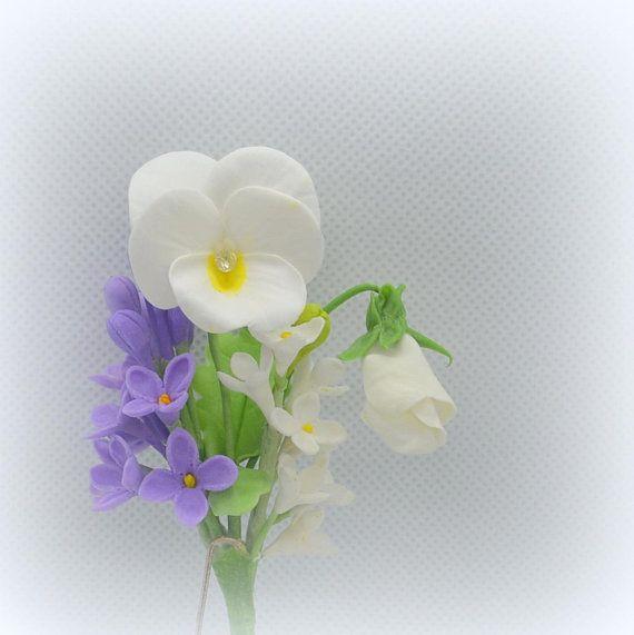 Hairpin hair flowers Pansy lilac Jewel flower Girl headdress flower Bride headband bouquet Buttonhole groom  flower Corsage wrist bridesmaid