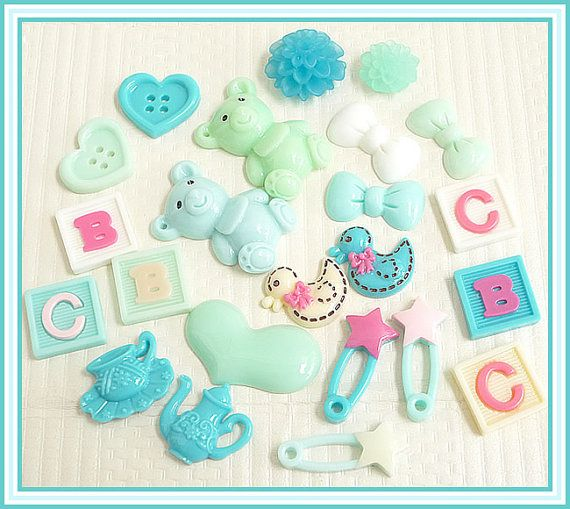 23 Assorted Flatback Resin Cabochons Baby by KawaiiCraftCottage, $6.90. Great for baby cards.