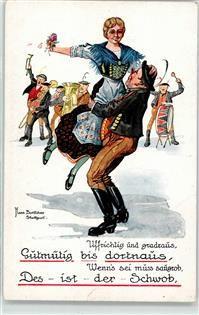 Künstlerkarte Böttcher, H. Schwabe Musik Tanz Tracht Trommel Posaune