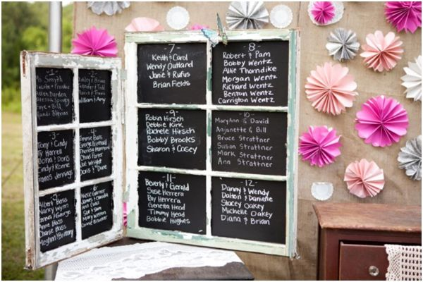 Pink & White Southern Shabby Chic Wedding from Style by Design: Tables Seats, Chalkboards Seats, Old Window Crafts, Window Panes, Chalkboards Window, Seats Charts, Diy Booths Seats, Chalkboard Window, Shabby Chic Weddings