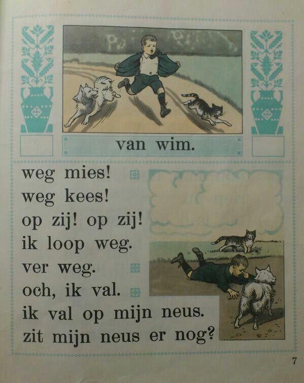 """Page from My Old School Book 1961 Title """"from Wim/ van Wim"""". From Tweede Leesboekje bij Hoogeveens Leesmethode door M.B Hoogeveen, Jan Ligthart en H.Scheepstra. Illustration from the wellknown C.Jetses (Cornelis Jetses)"""