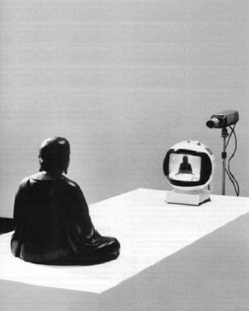 Tv Buddha, 1974 by Nam June Paik: Buddha contemplating Buddha.
