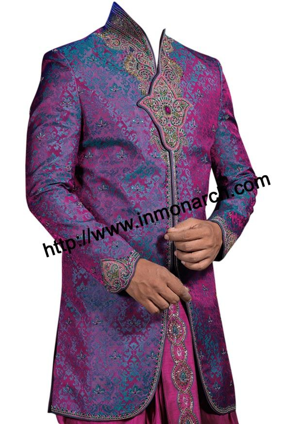 High neck angarakha style mens wedding sherwani made from brocade fabric. Embroidered on neck ,front and sleeves cuffs. It has bottom as dhotti made in pure dupion fabric in matching pink color.