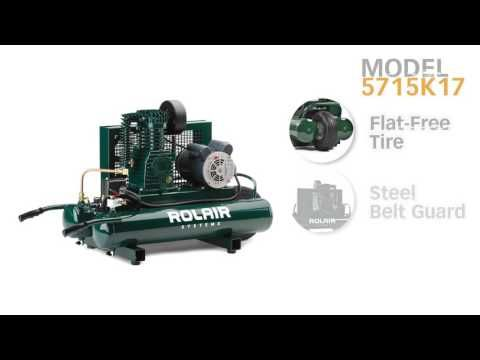 Rolair 5715K17-0224, 1.5 HP, 9 Gallon Twin Tank Electric Air Compressor
