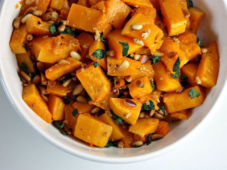 Roasted Butternut Squash with Sage and Pine Nuts from @RecipeGirl {recipegirl.com} {recipegirl.com} {recipegirl.com} - #PassoverPotluck