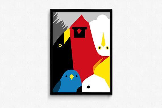 Print on paper  birds  multicolor  home decor  wall decor