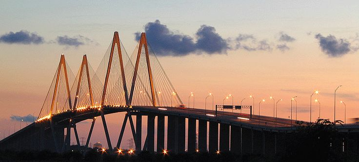 The Fred Hartman Bridge or Baytown Bridge is a cable-stayed bridge near Houston, Texas. It spans the Houston Ship Channel. The bridge carries 2.6 miles (4 km) of State Highway 146, between the cities of Baytown, Texas and La Porte, Texas.     http://www.texasexplorer.com/hartman.gif