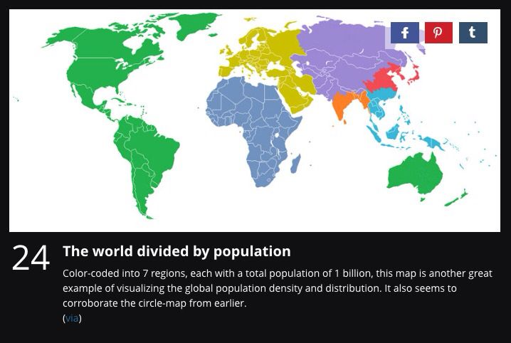 The world divided by population
