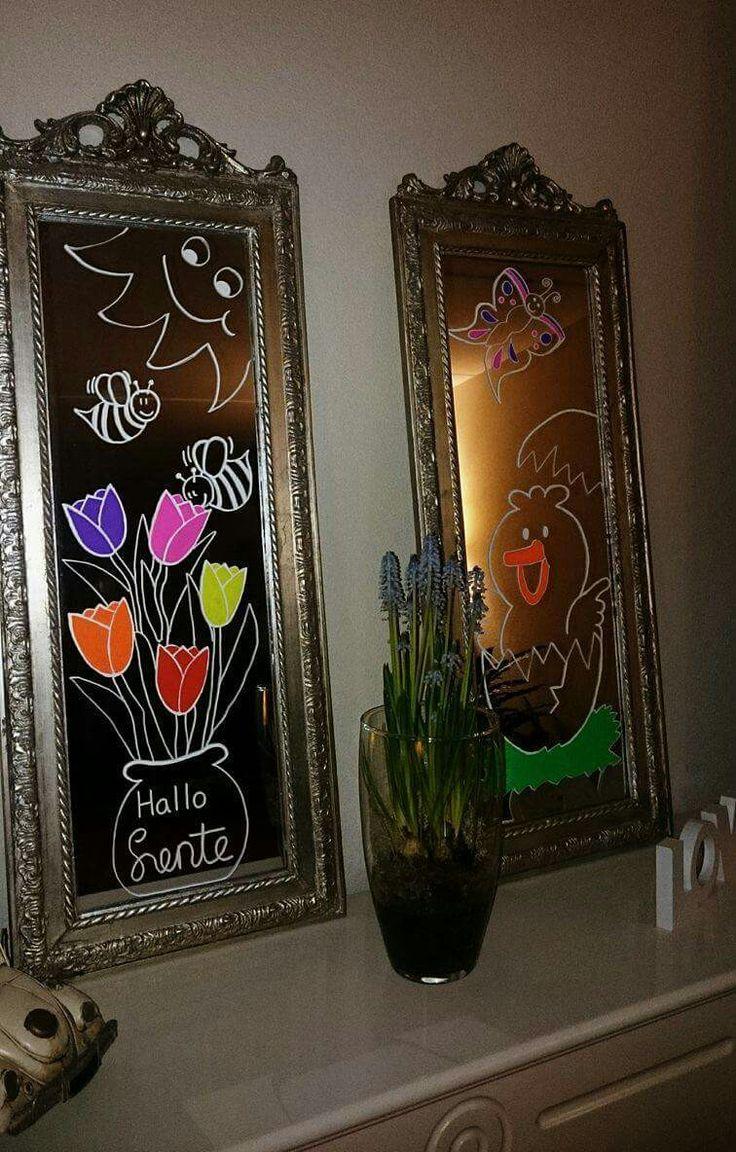 Krijtstift spiegel raamtekening pasen krijtbord stift chalkboard chalkmarker chalkwriter windowpainting windowart spring  lente easter mirror