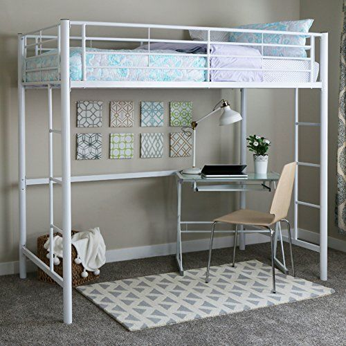 Elegance and function combine to give this contemporary bunk bed a striking appearance. The design gives a stylish modern look crafted with durable steel framing. Designed with safety in mind, the bed includes full length guardrails and a sturdy integrated ladder. Great for any space-saving... more details available at https://furniture.bestselleroutlets.com/bedroom-furniture/beds-frames-bases/beds/product-review-for-walker-edison-twin-metal-loft-bed-white/