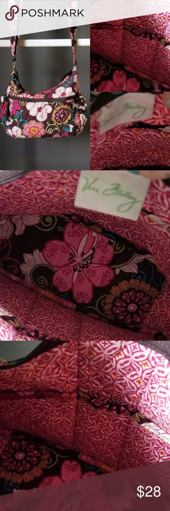 VERA BRADLEY Bold vibrant floral shoulder bag Chocolate brown with vibrant pinks and other berry colors and shades.  Very clean bag lots of storage would be a great diaper bag for a toddler momma Vera Bradley Bags Shoulder Bags