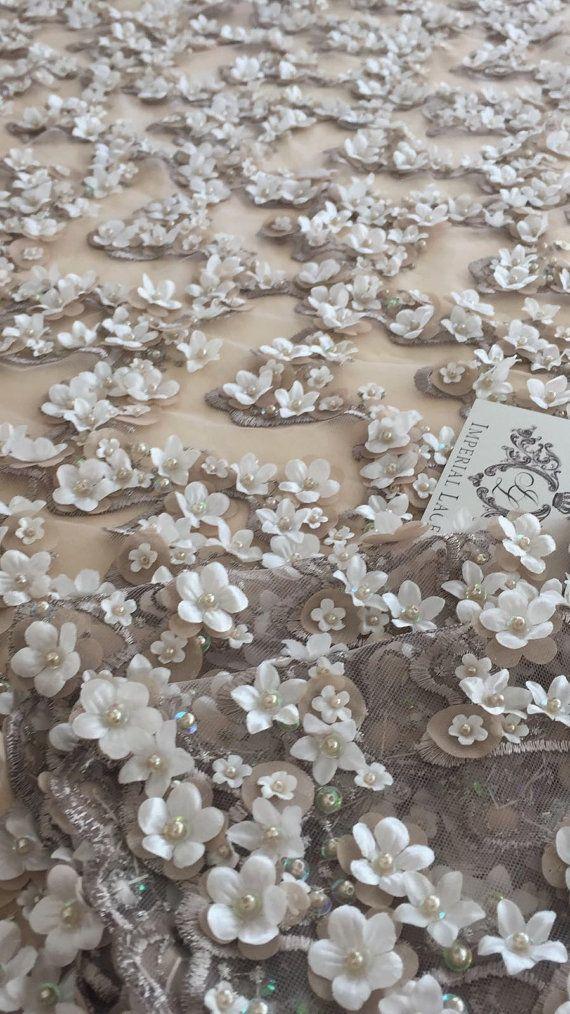 Tela de encaje marrón 3D de lujo hecho a mano perlas flores