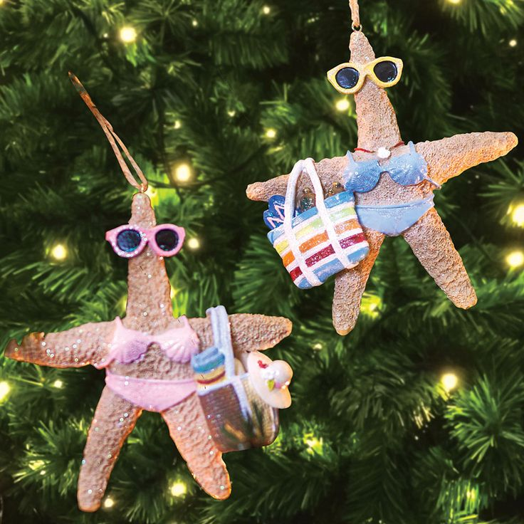 """Bathing Beauty Starfish Ornaments  These highly detailed unique whimsical starfish ornaments make a perfect beach Christmas hostess gift or sweet beachy accents for your coastal Christmas tree or door wreath. 3 1/2""""L. Set of 2.  #christmas #christmasinjuly #sale #promocode #couponcode #christmasdecor #xmas #christmastree #santa #christmasdecorations #merrychristmas #whhfashion #santaclaus #christmasornaments #want #starfish #beach"""